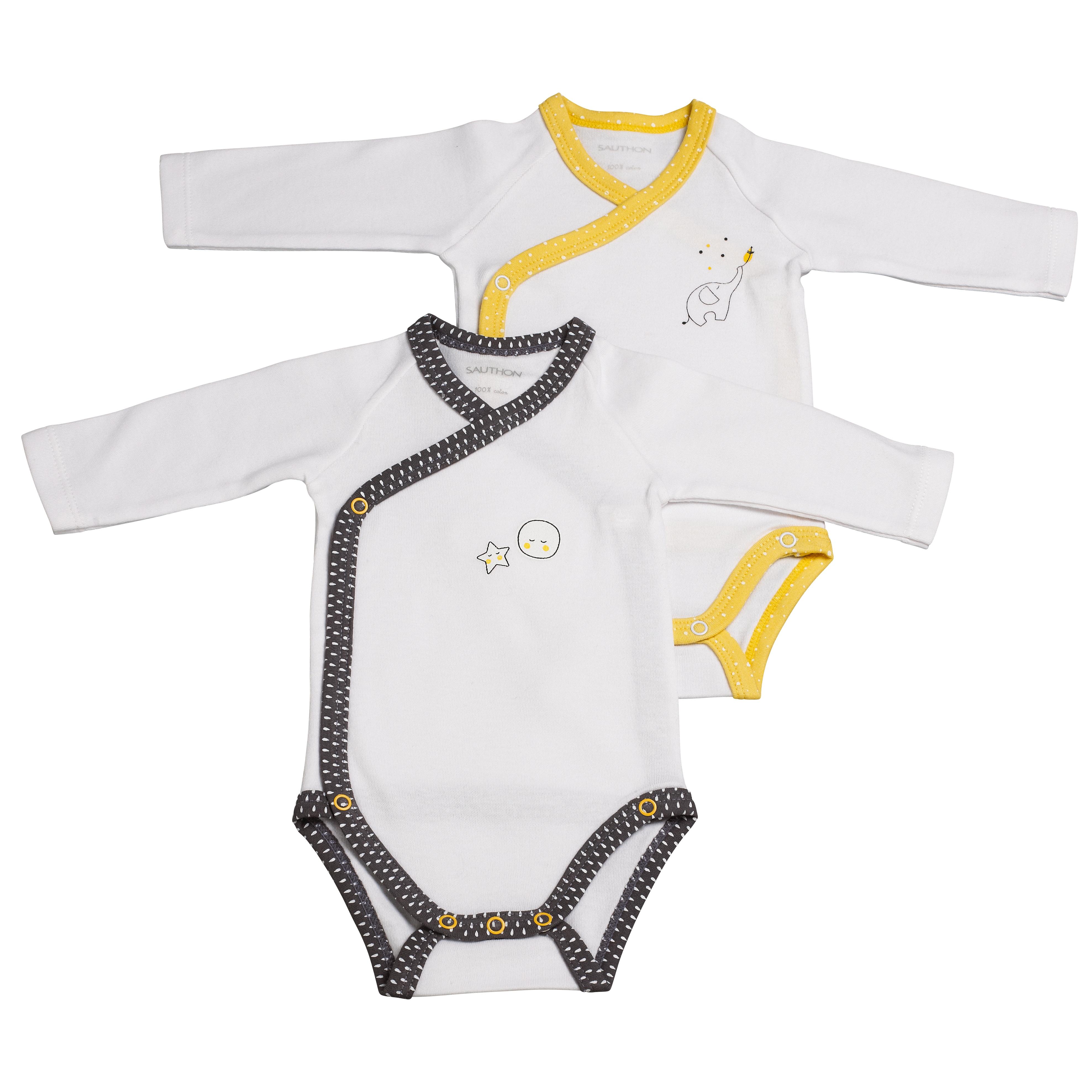 Sauthon Lot de 2 bodies blanc gris et blanc jaune 3 mois Babyfan ... beb1e30f7d1