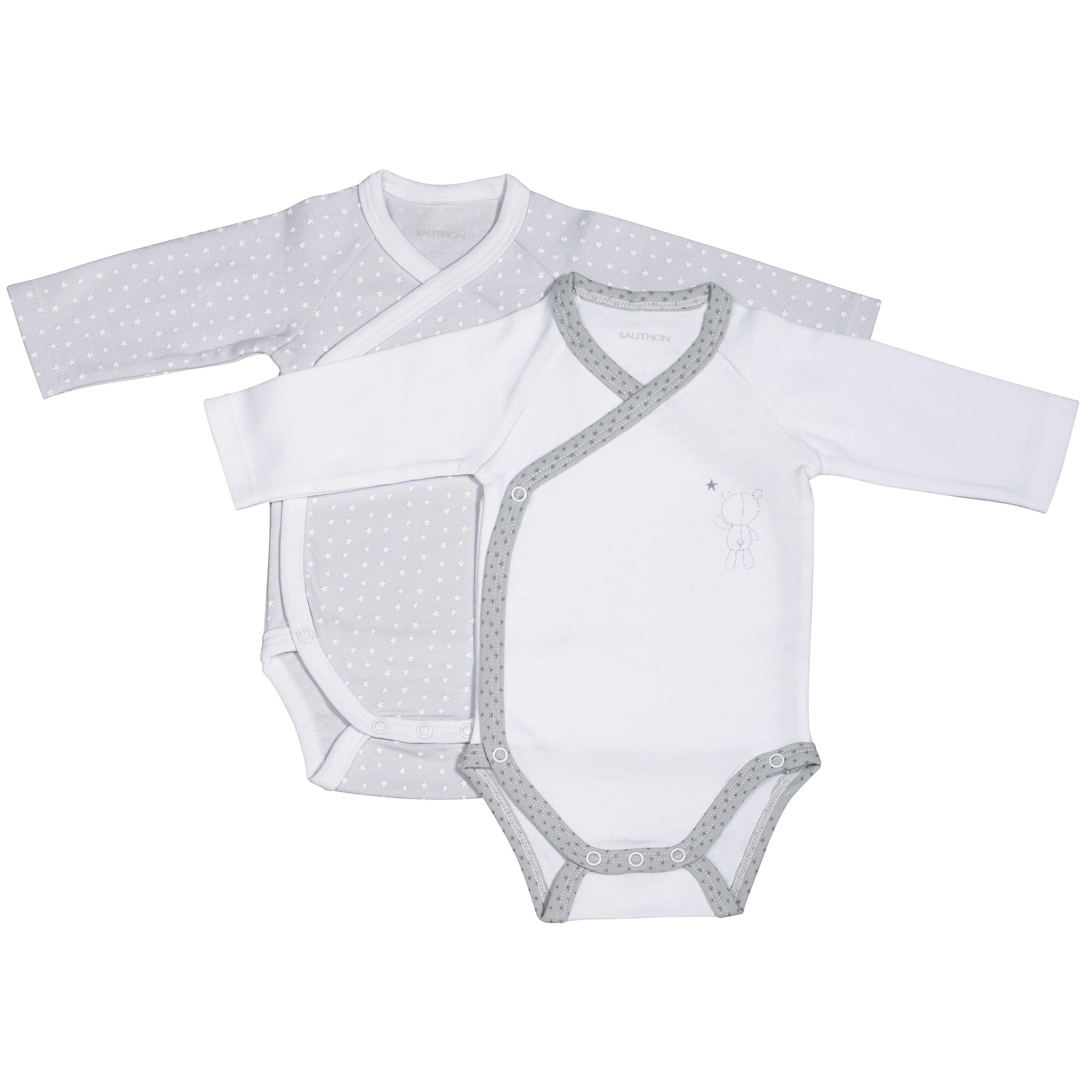 Sauthon Lot de 2 bodies blanc gris taille 3 mois Céleste - Made In Bébé 0efbbf5bc55