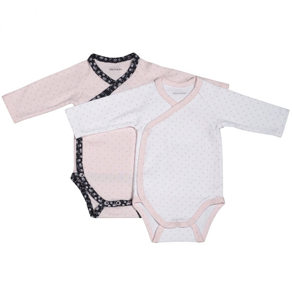 Lot de 2 bodies blanc/rose naissance Miss Chipie
