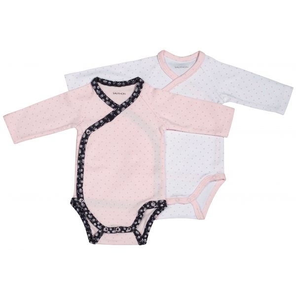 Lot de 2 bodies blanc/rose 1 mois Miss Chipie