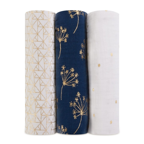 Lot de 3 maxi langes en coton Metallic gold déco
