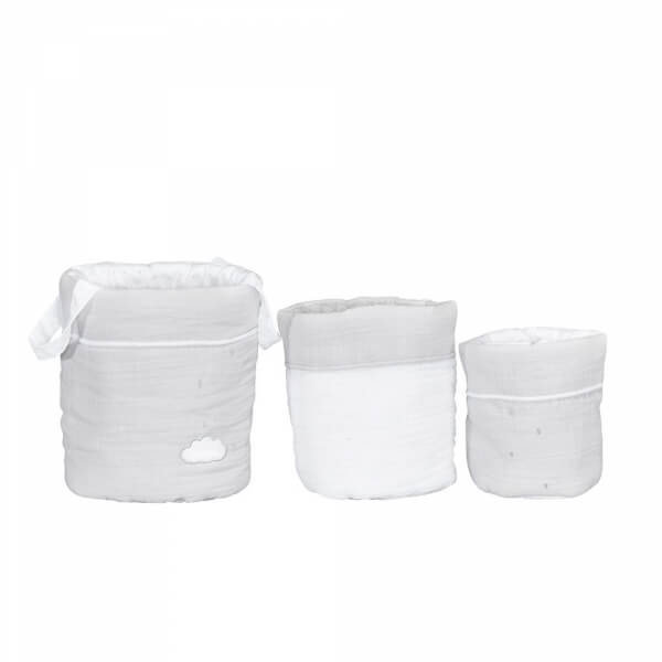 Lot de 3 paniers de rangement Lily Grey