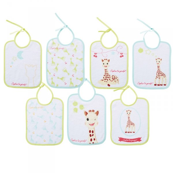 babycalin lot de 7 bavoirs naissance sophie la girafe made in b b. Black Bedroom Furniture Sets. Home Design Ideas