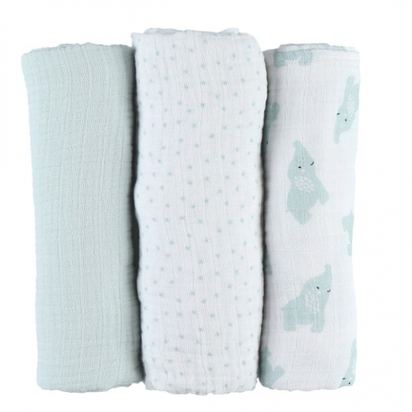 Lot de 3 langes coton bio Mint