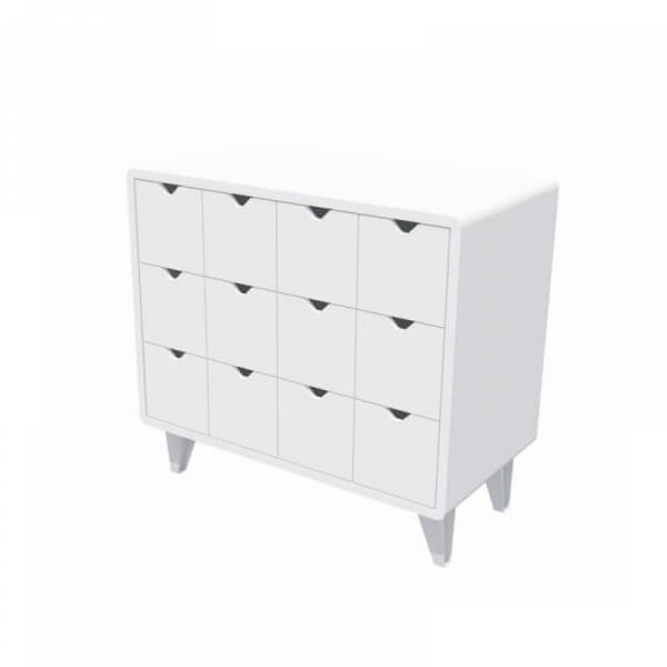 Commode Mont Blanc pieds blancs
