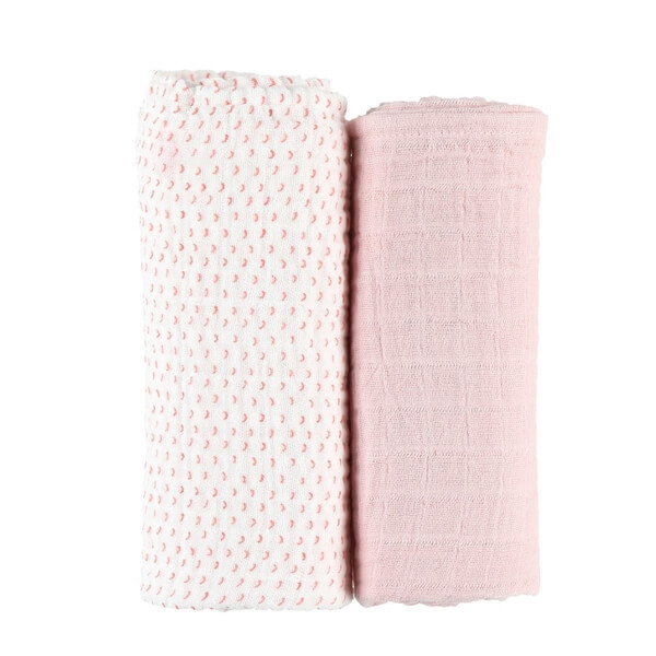Lot de 2 draps housse coton bio rose 70 x 140 cm Moris & Sacha