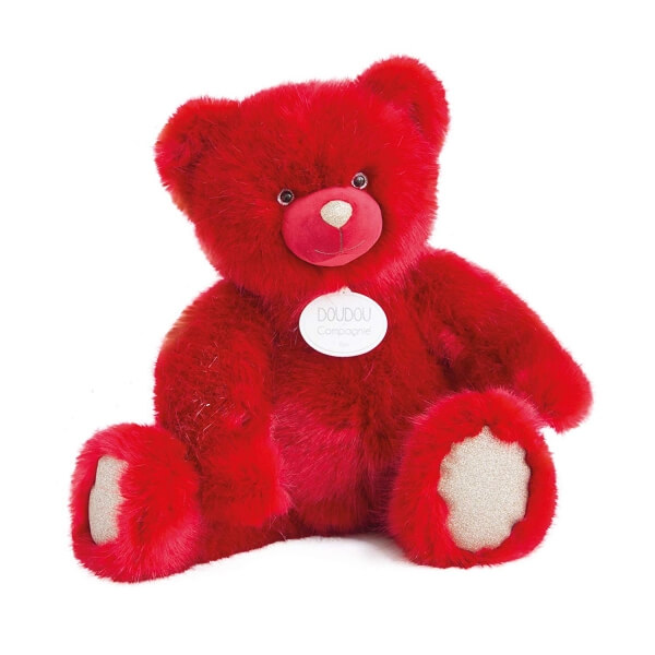 Peluche ours 40 cm rubis
