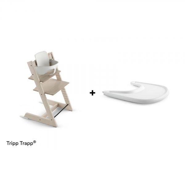 Pack Tripp Trapp Hêtre Blanchi Avec Baby Set Et Tablette