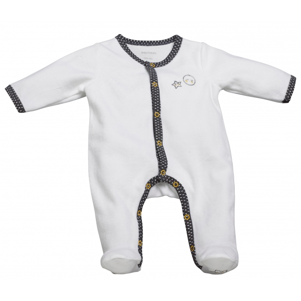 sauthon pyjama b b blanc gris 1 mois babyfan made in b b. Black Bedroom Furniture Sets. Home Design Ideas