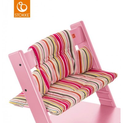 stokke coussin chaise haute tripp trapp enduit rayures roses made in b b. Black Bedroom Furniture Sets. Home Design Ideas