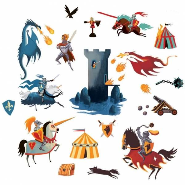 Stickers Chevaliers et Dragons