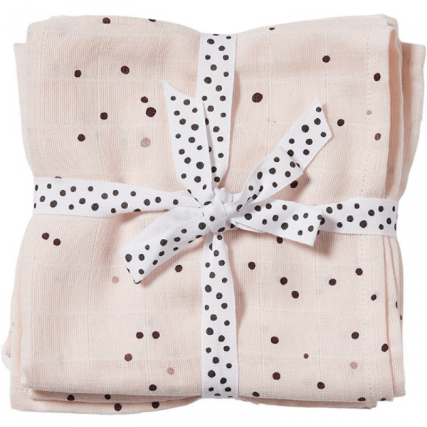 Lot de 2 langes dreamy dots roses