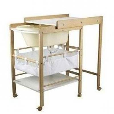 Geuther table langer naturel avec baignoire hanna made - Baignoire bebe table a langer pliante ...