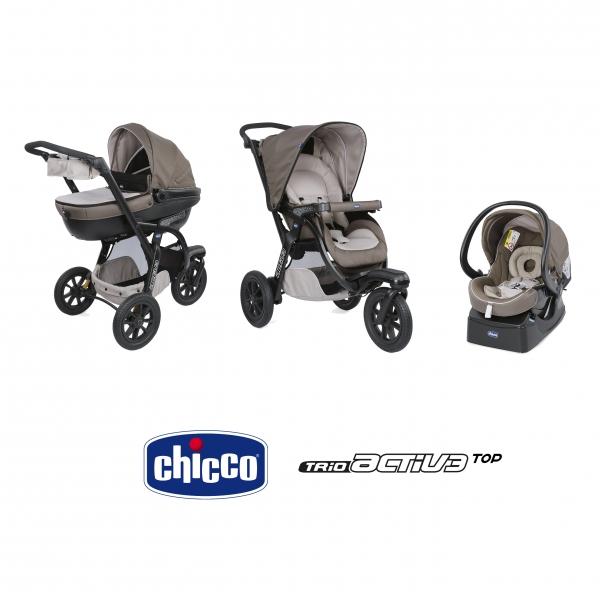 Chicco Trio Activ3 Top Poussette Nacelle Siège Auto Dove Grey