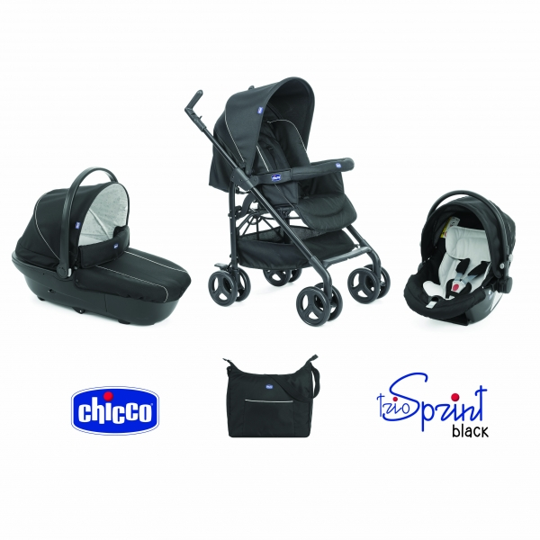 Trio Sprint Black Poussette + Nacelle + Siège-auto black night